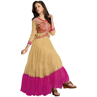 Style Mania Elegant Light Chiku  Pink Color  Soft Net Fabric gown SMGWMYA1008