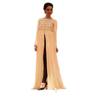 Isha Enterprise Latest Peach Color Semi Stitched Embroidered Designer Kurti