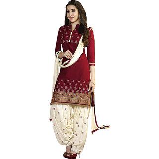 Style Mania Elegant Red Color Designer Floral printed Crepe Salwar Kameez , SMDMKHV14352