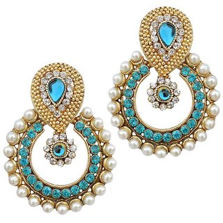 9789da9ceaa29 Women Jewellery Kundan Ramleela Pearl Blue AD Earrings Wedding Jewellry