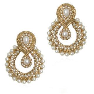 Women Kundan Ramleela White Beauty Pearl Earrings Wedding Jewellry