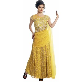 Yellow Georgette Embroidered Semistitched Gown