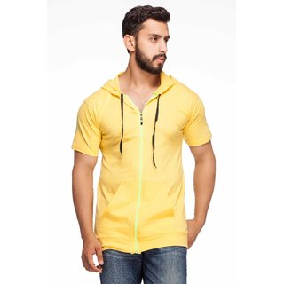 Demokrazy Men's Yellow Round Neck T-Shirt