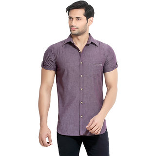 London Bee Mens Cotton Solid Short Sleeve Slim Fit Shirt MSSLB0052
