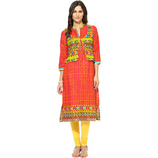 Prakhya Printed Womens Long straight cotton kurta-SW745ORANGE