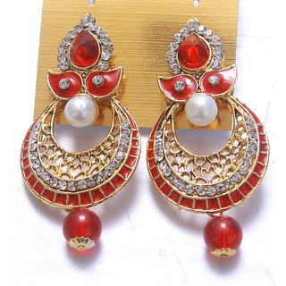 Women Jewellery Royal Designer Golden Red Traditional Kundan S Earrings