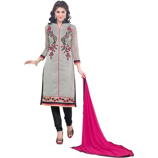 Manvaa Grey Chanderi Cotton Chudidar Embroidered Dress Material