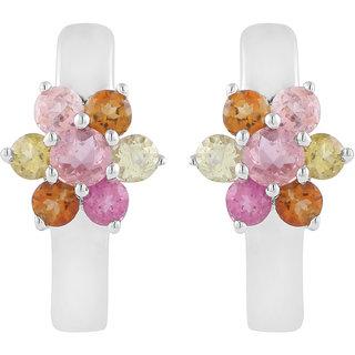 925 Sterling Silver Flower Shaped MultiColor Earring by Allure Jewellery