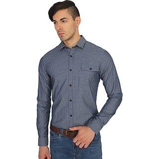 squir hood Mens Printed Casual Shirt color dark grey