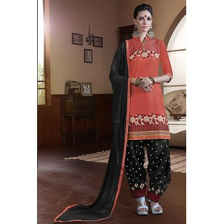 Sareemall Peach Cotton Embroidered Salwar Suit Dress Material
