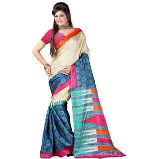 Radhika fibers multi bhagalpuri printed saree with blause