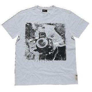 Lee Tshirt Cotton Off White Round Neck Photo Printed