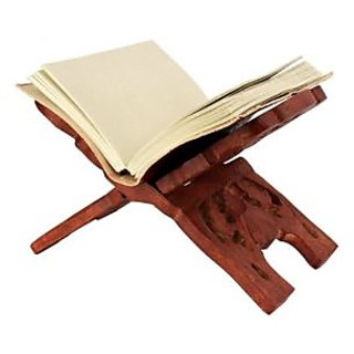 WOODEN HAND CARVED HOLY BOOK STAND FOR QURAN BIBLE GITA VED GURU GRANTH SAHIB SIZE (13 INCH)