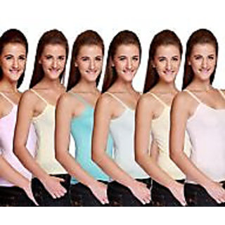 Girls camisole pack of 6 pc asstd color width 28 inch