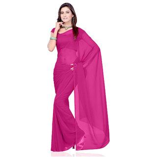 Plain Pink Colour Chiffon Fabric Saree [With Blouse]