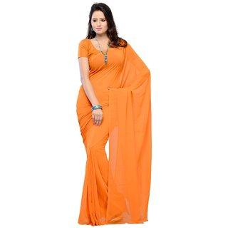 3c07d1423e097c Plain Orange Colour Chiffon Fabric Saree  With Blouse