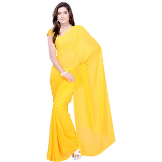 6d0ead0dfe00d Plain Yellow Colour Chiffon Fabric Saree  With Blouse