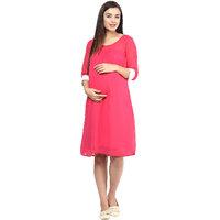 Mine4Nine Pink Georgette Casual Dress