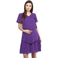 Mine4Nine Purple Georgette Casual Dress