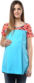 Mine4Nine Turquoise Crepe Casual Top