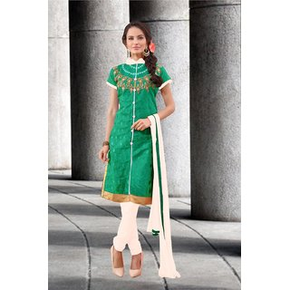Blissta Green Chanderi Embroidered Party Wear Salwar Suit Material
