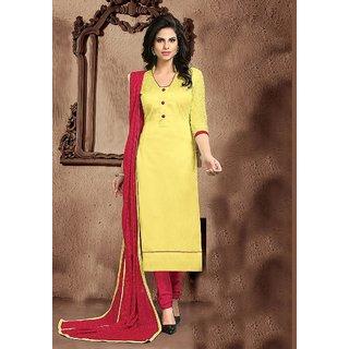 Vastrani Yellow and Red Banglori silk and Santoon Embroidered Dress Material