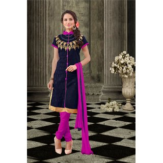 Blissta Navy Blue Chanderi Embroidered Party Wear Salwar Suit Material