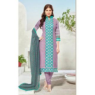 Vastrani Purple Embroidered Chanderi and Cotton Dress Material