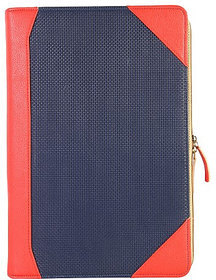 Dhama 15 Stylish And Chic  Red  Blue Check Leatherette Laptop Sleeve dh2016ls155