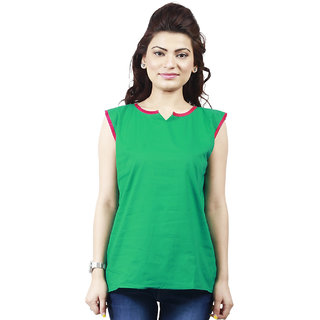 Sukuma Green Plain Cotton Stitched Kurti