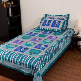 Chokor Jaipuri Cotton Single Bedsheet With 2 Pillows(R1S002)