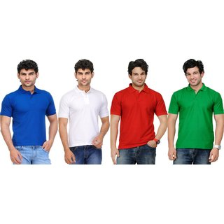 AVE Mens Casual Polo Tshirt Pack Of 4 (AVE-PT-Bl-Wh-Re-Gr-1)