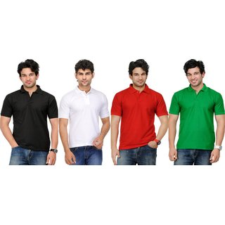 AVE Mens Casual Polo Tshirt Pack Of 4 (AVE-PT-Blk-Wh-Re-Gr-1)