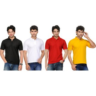 AVE Mens Casual Polo Tshirt Pack Of 4 (AVE-PT-Blk-Wh-Re-Ye-1)