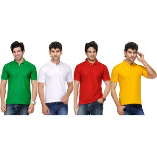 AVE Mens Casual Polo Tshirt Pack Of 4 (AVE-PT-Gr-Wh-Re-Ye-1)