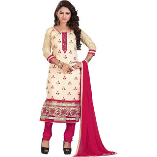 Khushali Stylish Embroidered Chanderi Dress Material (Beige,Rani)