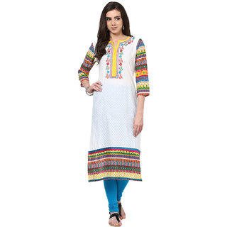 Prakhya Embroidered Womens Long straight cotton kurta-SW673YELLOW