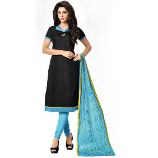 Khushali Bhagalpuri Dress Material (Black ,Sky Blue)