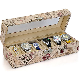 Urban Living 6 Slot PU Leather Decorative Watch Box Organizer - Maple Leaves