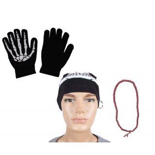 sushito  Funky Black Long Cap Combo Style Mala With Hand Gloves JSMFHCP1083-JSMFHHG0037