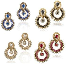 Women Jewellery Royal Designer Gold Plated Multi Color Green Pearl Traditional Kundan Earrings