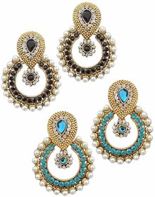 Women Jewellery Royal Designer Gold Plated And AD Multi Color Pearl Traditional Earrings(set Of 2)