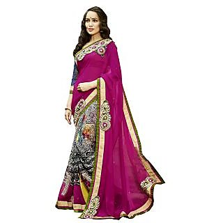 Lovely Look Pink Georgette Embroidered Saree With Blouse