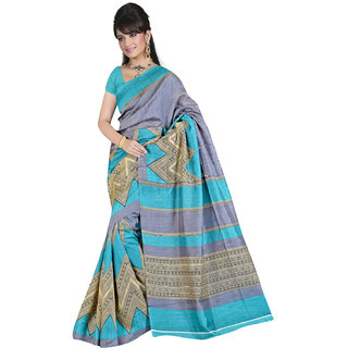 Lovely Look Grey  Sky Blue Printed Saree LLKGPS5108