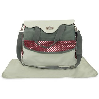 Wonderkids Mother Bag With Mat Dot Print - Grey And Brown