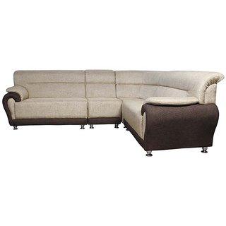 Hunybuni Beige Brown Pine Wood Super Corner Sofa Set