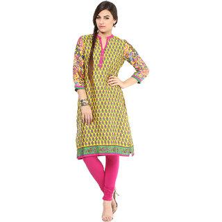 Prakhya Printed Womens Long Straight cotton kurta-SW637BYELLOW