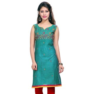Valas Womens Cotton Embroidered Ocean Blue Long Kurti (3661)