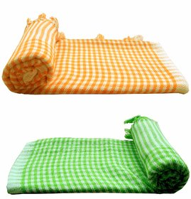 Bpitch Cotton White,Green,Orange Bath Towels (47X24 Inch) Combo Of 2