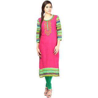 Prakhya Embroidered Womens Long Straight cotton kurta-SW623PINK